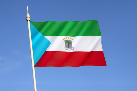 equatorial guinea: The flag of Equatorial Guinea - adopted on August 21st 1979. Stock Photo