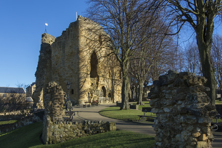 norman castle: Knearsborough - an historic market town, spa town and civil parish in the Borough of Harrogate in North Yorkshire, England. Knearsborough Castle was built by a Norman baron in 1100 on a cliff above the River Nidd. Editorial