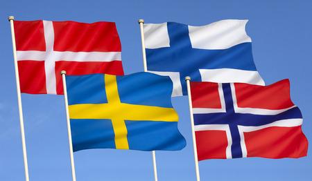 Flags of Scandinavia - Denmark, Finland, Sweden and Norway.