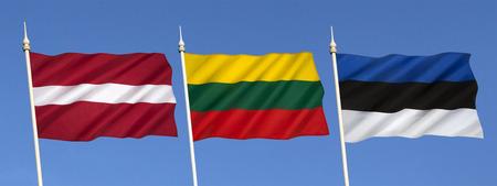 latvia: Flags of the Baltic States - Latvia, Lithuania and Estonia.