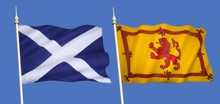 rampant: Scottish Flags - The national flag (the Saltire) and the Lion Rampant (Royal Standard of Scotland)