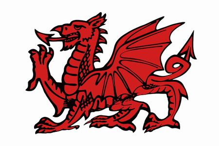 wales: The red dragon of Wales  Stock Photo
