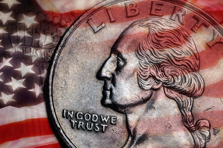 in god we trust: Close-up detail on a United States quarter dollar coin - In God we Trust - Liberty Stock Photo