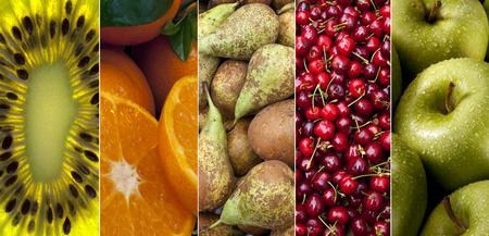 kiwi fruta: Una selecci�n de fruta fresca - kiwi, naranjas, peras, cerezas rojas y manzanas.