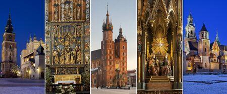 retablo: Lugares de inter�s en la ciudad de Cracovia, en Polonia - Lonja de los Pa�os y la torre en la plaza principal (Rynek Glowny), retablo esculpido por Veit Stoss, Iglesia de St. Marys, la Iglesia Dominicana y Catedral de Wawel. Foto de archivo
