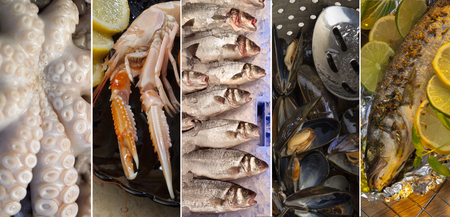 langoustine: A selection of fish and seafood - octopus, langoustine, fresh sea fish, mussels and grilled fish. Stock Photo