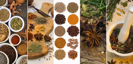 flavorings: A selection spices used for flavoring and seasoning.