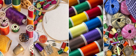 Handicrafts - Sewing and Embroidery threads, cotton, needles and yarn. photo