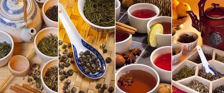 teas: Selection of Chinese Green Teas and Herbal and Spiced Teas. Stock Photo