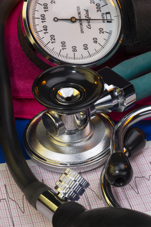 Sphygmomanometer and stethoscope - used to measure blood pressure, it is composed of an inflatable cuff to restrict blood flow, and a mercury or mechanical manometer to measure the pressure. Manual sphygmomanometers are used in conjunction with a stethosc