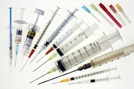 A selection of syringes and hypodermic needles used in medicine to give injections.