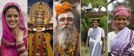 sadhu: Faces of India - Sikh bride in Amritsar, Kathakali Dancer in Cochin, Sadhu Holy Man in Varanasi, Tamil Women in Tamil Nadu in southern India. Editorial