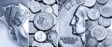 in god we trust: Coins and banknotes - Bimetallic coins from around the world, Silver coins, Handful of US Dollar Banknotes and close up of a United States Quarter with the inscription In God we Trust. Stock Photo
