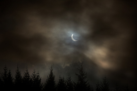 solar eclipse: The partial solar eclipse of the 20th March 2015 - Viewed from the United Kingdom Stock Photo
