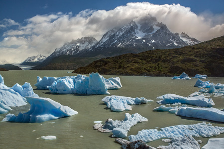 patagonian chile: Icebergs from the Grey Glacier (in the far distance) in Grey Lake in the Southern Patagonian Ice Field in Torres del Paine National Park in southern Chile.