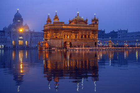 The Golden Temple or Harmandir Sahib in the city of Amritsar in the Punjab region of northwest India. The center of the Sikh faith and the site of its holiest shrine.