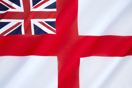 ensign: British White Ensign - flown by the Royal Navy and most Commonwealth navies, the Royal Yacht Squadron and ships of Trinity House.