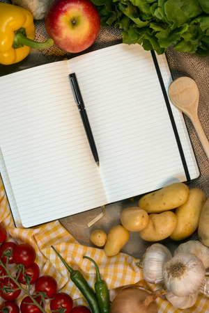recipe book: Blank pages of a Recipe Book - Space for text