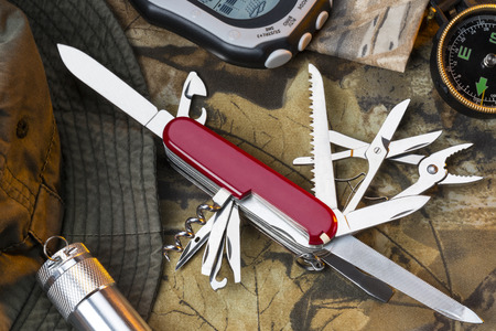 A Swiss Army style of muli-tool knife and equipment for the great outdoors.