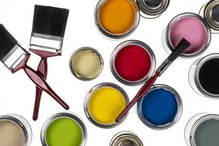 paints: Selection of paints and paintbrushes