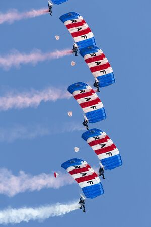 royal air force: The Royal Air Force Falcons Parachute Display Team in action Editorial