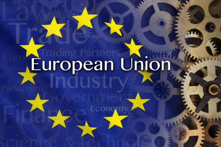 common market: Trade and Industry in the European Union - an economic and political association of certain European countries as a unit with internal free trade and common external tariffs. Stock Photo