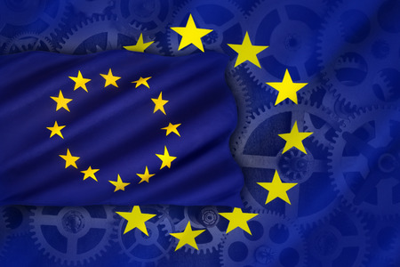 the european economic community: Trade and Industry in the European Union - an economic and political association of certain European countries as a unit with internal free trade and common external tariffs. Stock Photo
