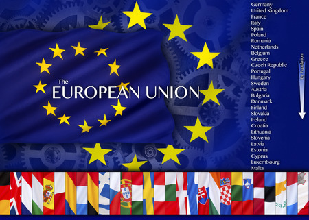 european economic community: Trade and Industry and countries of the European Union - an economic and political association of 28 European countries as a unit with internal free trade and common external tariffs.