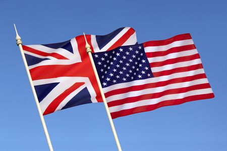 bilateral: Flags of Britain and the United States of America - Since 1940 they have been close military allies enjoying the Special Relationship built as wartime allies