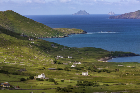 county kerry: The scenic coastline on a part of the Ring of Kerry. This is a 179km long circular tourist route in County Kerry, southwest Ireland. Stock Photo