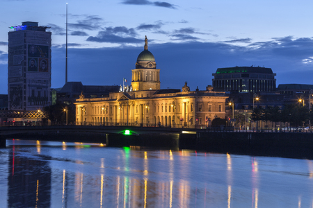 liffey: Customs House in Dublin, Ireland. The Dublin skyline near Custom House - a neoclassical 18th-century building which houses the Department of the Environment, Community and Local Government. It is located on the north bank of the River Liffey, on Custom Ho
