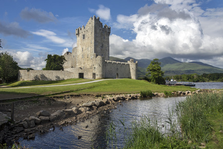 tower house: Ross Castle is a 15th-century tower house and keep on the edge of Lough Leane, in Killarney National Park, County Kerry in the Republic of Ireland It is the ancestral home of the ODonoghue clan.