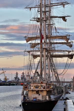 The sail training ship Lord Nelson moored in the River Liffey in Dublin, Republic of Ireland. Operated by the Jubilee Sailing Trust she is a square-rigged three-masted barque based in Southampton in the south of England. Founded in 1978 with money from th