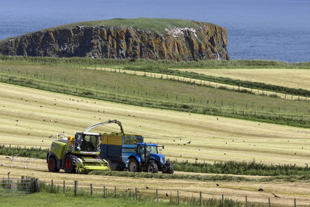 Agriculture - Farm workers collecting silage in the fields near the village of Ballycastle in County Antrim in Northern Ireland. Silage is grass fodder that is compacted and stored in airtight conditions, typically in a silo, without first being dried, to