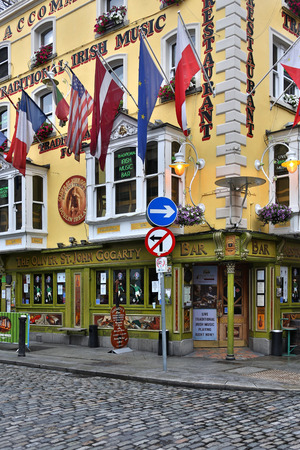 Traditional Irish pub the Oliver St. John Gogarty in the Temple Bar area of Dublin in the Republic of Ireland. Named after Oliver Joseph St John Gogarty (17 August 1878 – 22 September 1957) who was an Irish poet, author, athlete, politician, and well-