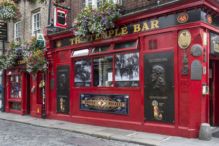 The famous Temple Bar Irish Pub in the Temple Bar District of Dublin in the Republic of Ireland. Temple Bar is an area on the south bank of the River Liffey. It is promoted as Dublins cultural quarter and has a lively nightlife that is popular with touri