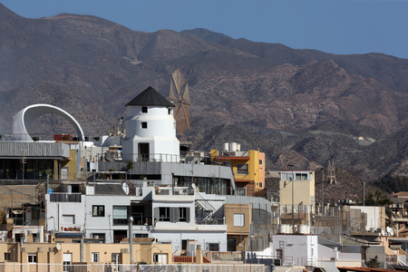 southeastern: Rooftop windmill in the Mediterranean port of Aguilas on the Costa Calida in Murcia in southeastern Spain