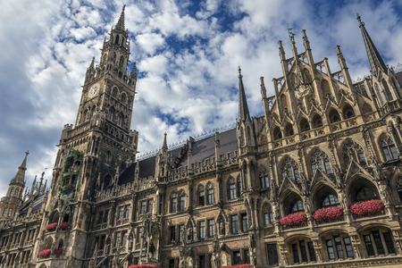 gothic revival: The Rathaus or New Town Hall at the northern part of Marienplatz in the city of Munich in Bavaria, Germany. built between 1867 and 1908 by Georg von Hauberrisser in a Gothic Revival architecture style.