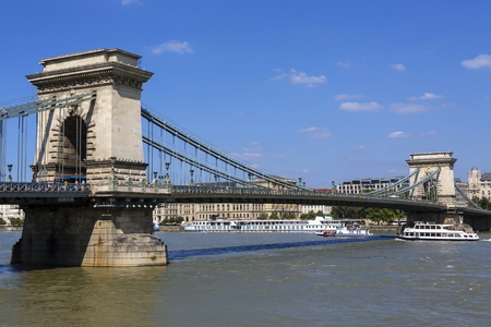szechenyi: The Szechenyi Chain Bridge over the River Danube in the city of Budapest in Hungary.