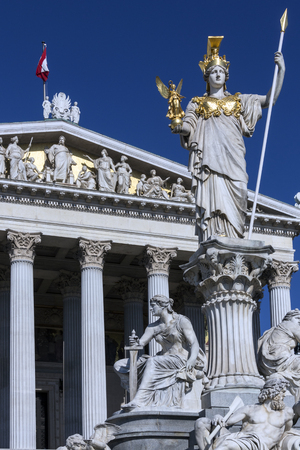 legislature: Statues at the Parliament Buildings on Ringstrabe in Vienna, Austria. The Austrian Parliament is the bicameral legislature in Austria. It consists of two chambers: the National Council (Nationalrat) and the Federal Council.