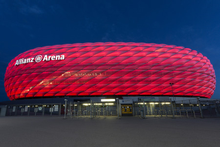 The Allianz Arena - A football stadium in Munich, Bavaria, Germany with a 75,000 seating capacity, Home ground for two professional Munich football clubs FC Bayern Munich and TSV 1860 Munich have played their home games at the Allianz Arena since the star