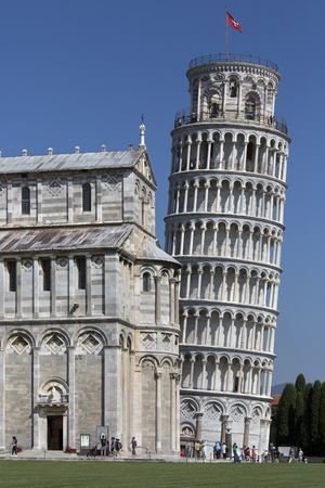 The Leaning Tower of Pisa, is the most famous image of the city of Pisa in Italy. It is one of many works of art and architecture in the citys Piazza del Duomo. The bell tower leans about 5m (17ft) from the perpendicular over its height of 56m (183ft). Editorial