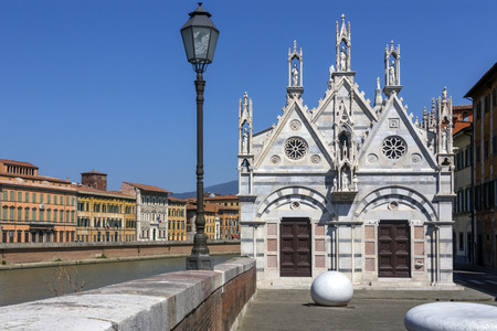 rebuilt: Santa Maria della Spina is a small church in the Italian city of Pisa. The church, erected around 1230 in the Pisan Gothic style, was originally known as Santa Maria di Pontenovo.  In 1871 the church was dismantled and rebuilt on higher ground due to dang