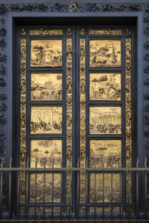 consist: The East doors, or Gates of Paradise, by Lorenzo Ghiberti on the Baptistery near the Duomo in Florence, Italy. It took Ghiberti 21 years to complete these doors. These gilded bronze doors consist of twenty-eight panels, with twenty panels depicting the li