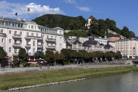 The city of Salzburg on the Salzach River in Austria. Salzburgs Old Town (Altstadt) is internationally renowned for its baroque architecture and is one of the best-preserved city centers north of the Alps. It was listed as a UNESCO World Heritage Site