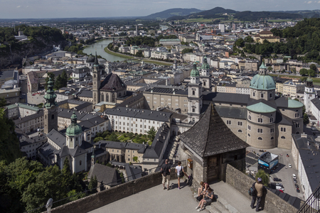 altstadt: View of the city of Salzburg on the Salzach River in Austria from the Hohensalzburg Castle. Salzburgs Old Town (Altstadt) is internationally renowned for its baroque architecture and is one of the best-preserved city centers north of the Alps. It was l