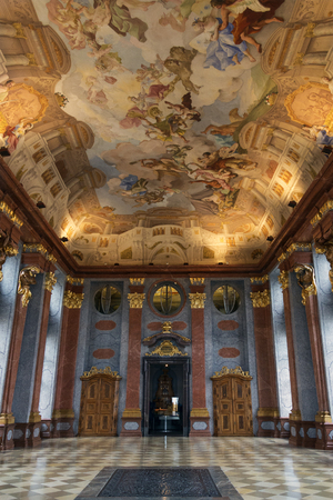 leopold: The Marble Hall in Melk Abbey - a Baroque Benedictine Monastery on a rocky outcrop overlooking the Danube river at Melk in the Wachau Valley in Austria. The abbey was founded in 1089 when Leopold II, Margrave of Austria gave one of his castles to Benedict