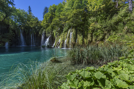 Plitvice Lakes National Park, Croatia - The national park was founded in 1949 and is situated in the mountainous karst area of central Croatia, at the border to Bosnia and Herzegovina. The national park is world-famous for its lakes. Currently, there are  Stock Photo