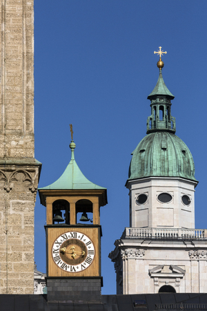 Detail of historic architecture near Franziskanerkirche in the historic center of the city of Salzburg in Austria. Salzburgs Old Town (Altstadt) is internationally renowned for its baroque architecture and is one of the best-preserved city centers north