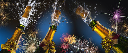 Celebration - Party Time. Celebrating great events with fizz and fireworks. Things such as Weddings, New year, New Life, Success and Winning. Stock Photo